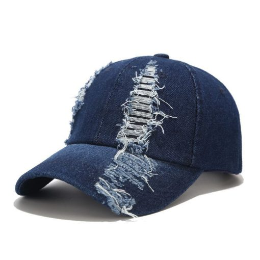 Blue Denim Baseball Cap Black Hat