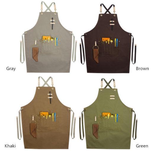 Gray Brown Khaki Canvas Apron Crossback Straps