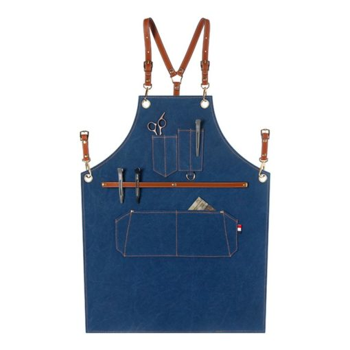 Gray Blue Canvas Apron Crossback Leather Straps