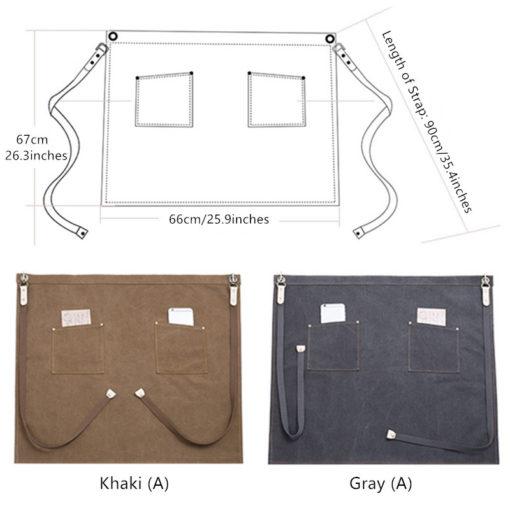 Waterproof Gray Khaki Canvas Waist Apron