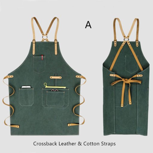 Waterproof Canvas Apron Leather Cotton Strap