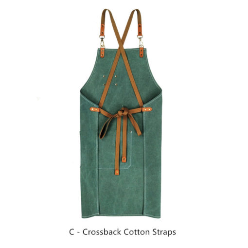 Green Purple Canvas Apron Leather Cotton Strap