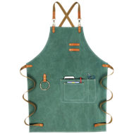 Green Purple Canvas Apron Leather Cotton Strap