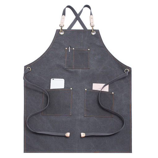 Waterproof Gray Khaki Canvas Apron Crossback Strap
