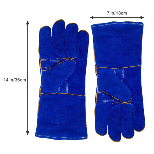 Blue Cow Split Leather Gloves BBQ Grill Oven Mitten