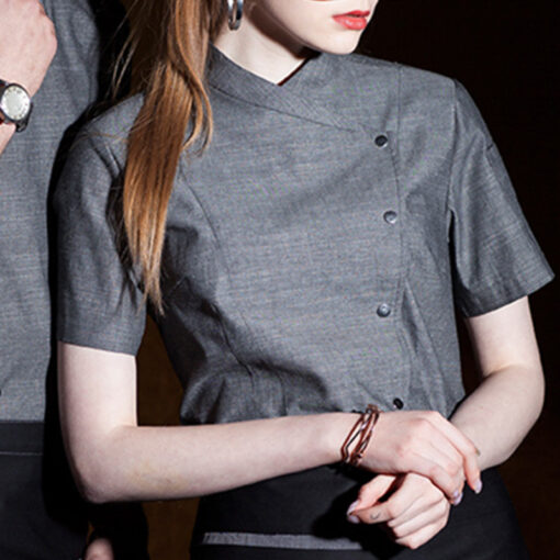 Gray Polyester Cotton Short Sleeve Chef Shirt