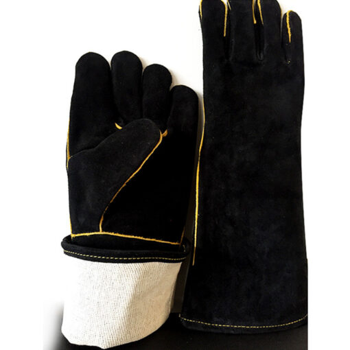 Black Cowhide Leather Gloves BBQ Grill Baking Mitten