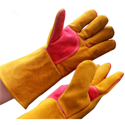 Yellow Cowhide Leather Gloves BBQ Grill Oven Mitten