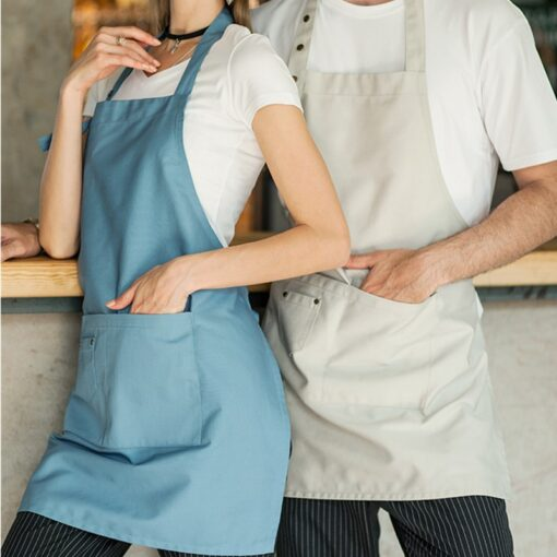 Beige Blue Brown Polyester Cotton Bib Apron