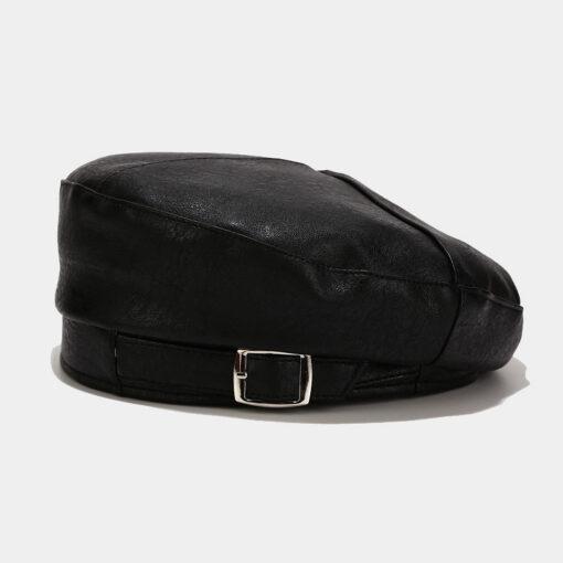 Solid PU Beret Round Hat Sunny Cap
