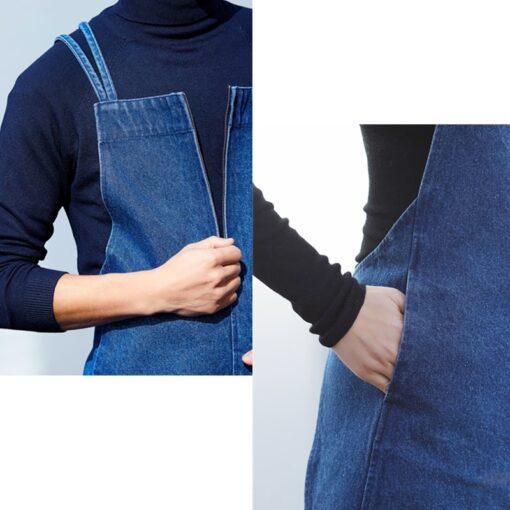 Black Blue Washed Denim Apron Crossback Straps