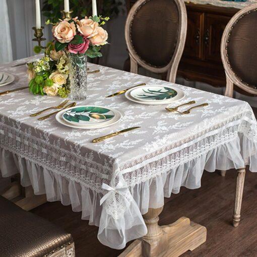 White Transparent Elegant Lace Tablecloth