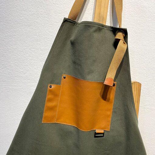 Gray Green Canvas Apron Blue Denim Work Wear
