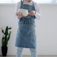 Kids Black Blue Gray Denim Bib Apron