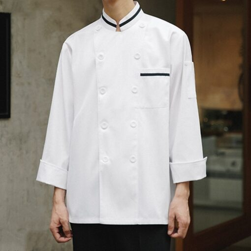 White Polyester Cotton Long Sleeve Chef Jacket