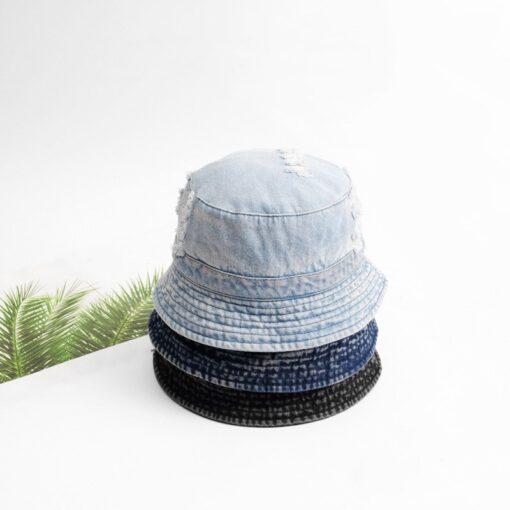 Black Denim Bucket Hat Blue Fishing Sun Hat