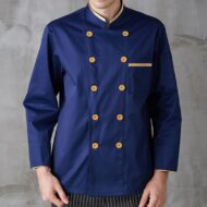 Blue Long Sleeve Polyester Cotton Chef Jacket