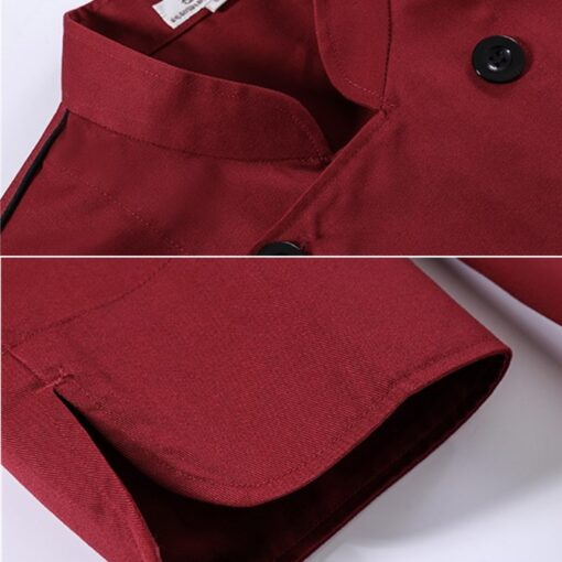Red Long Sleeve Polyester Cotton Chef Jacket