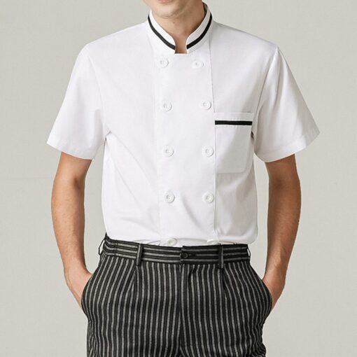 White Polyester Cotton Short Sleeve Chef Shirt