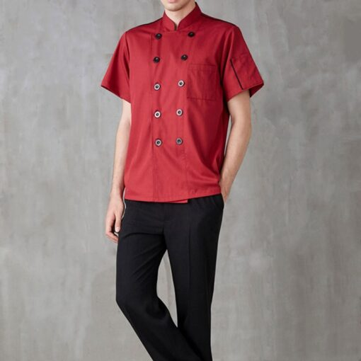 Red Polyester Cotton Short Sleeve Chef Shirt