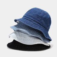 Blue Denim Bucket Hat Black Round Sun Hat