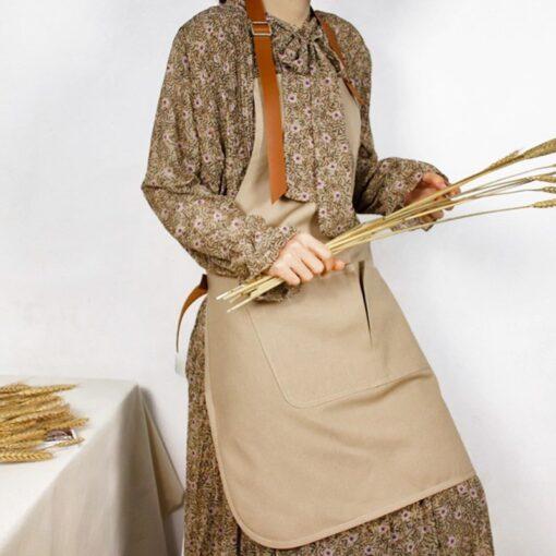 Canvas Bib Apron PU Straps Florist Workwear