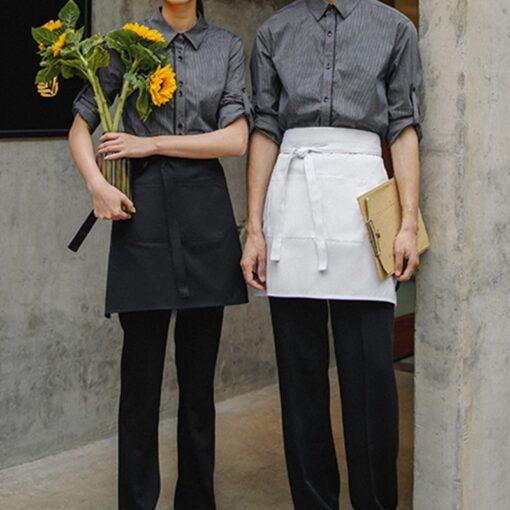 Black White Polyester Cotton Waist Apron Culinary Uniform