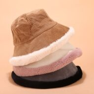 Winter Corduroy Bucket Hat Outdoor Fisherman Cap