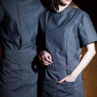 Blue Polyester Cotton Short Sleeve Chef Shirt