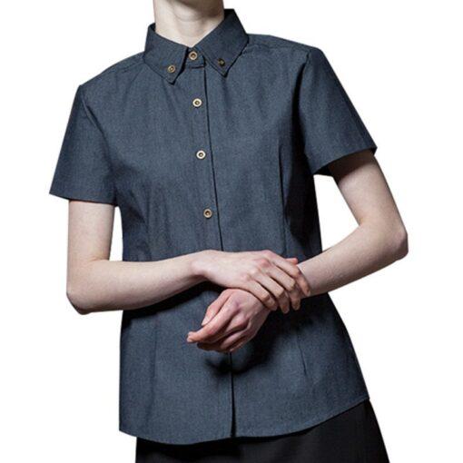 Blue Short Sleeve Shirt Culinary Workwear