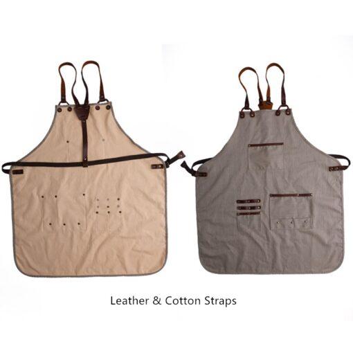 Striped Cotton Apron Cross back Straps