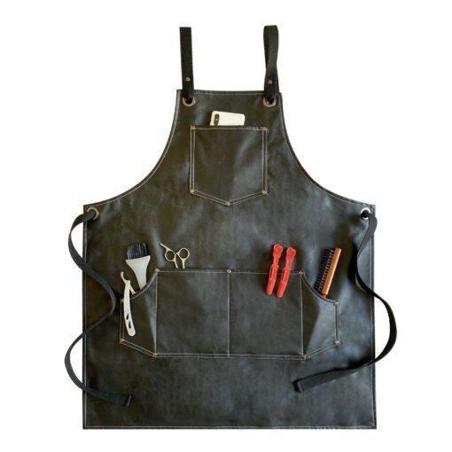 PU Apron Cross back Straps Barista Barber Workwear