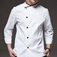 White Long Sleeve Chef Jacket Black Chef Uniform
